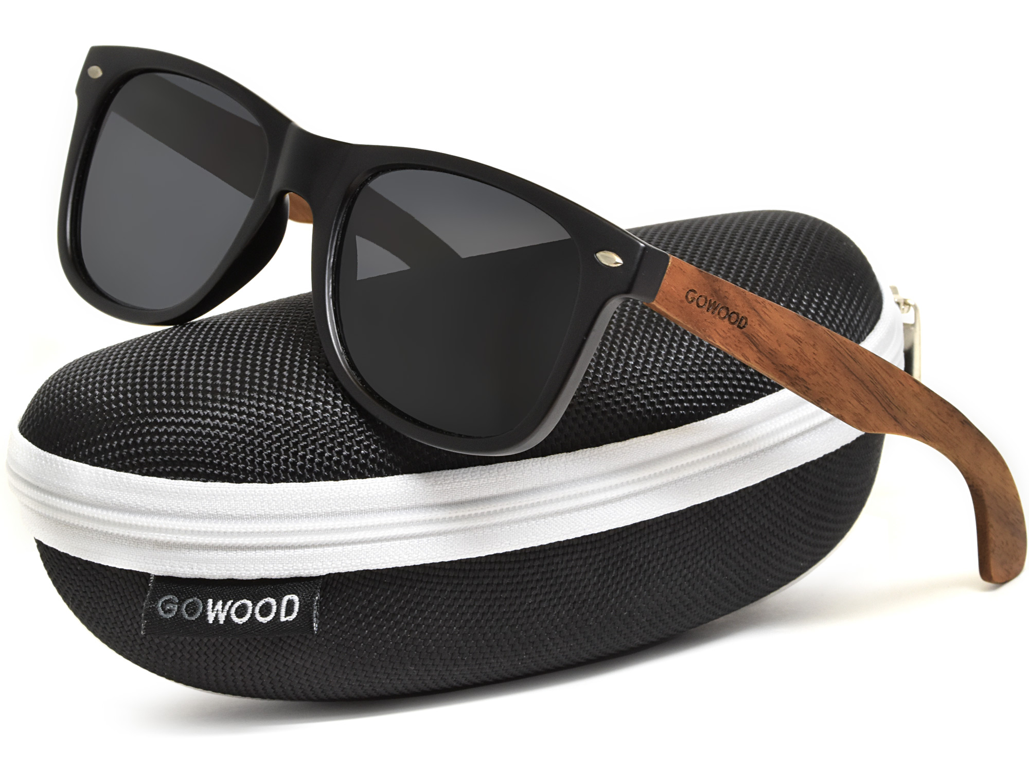 Walnut wood sunglasses with black polarized lenses in a zipper case