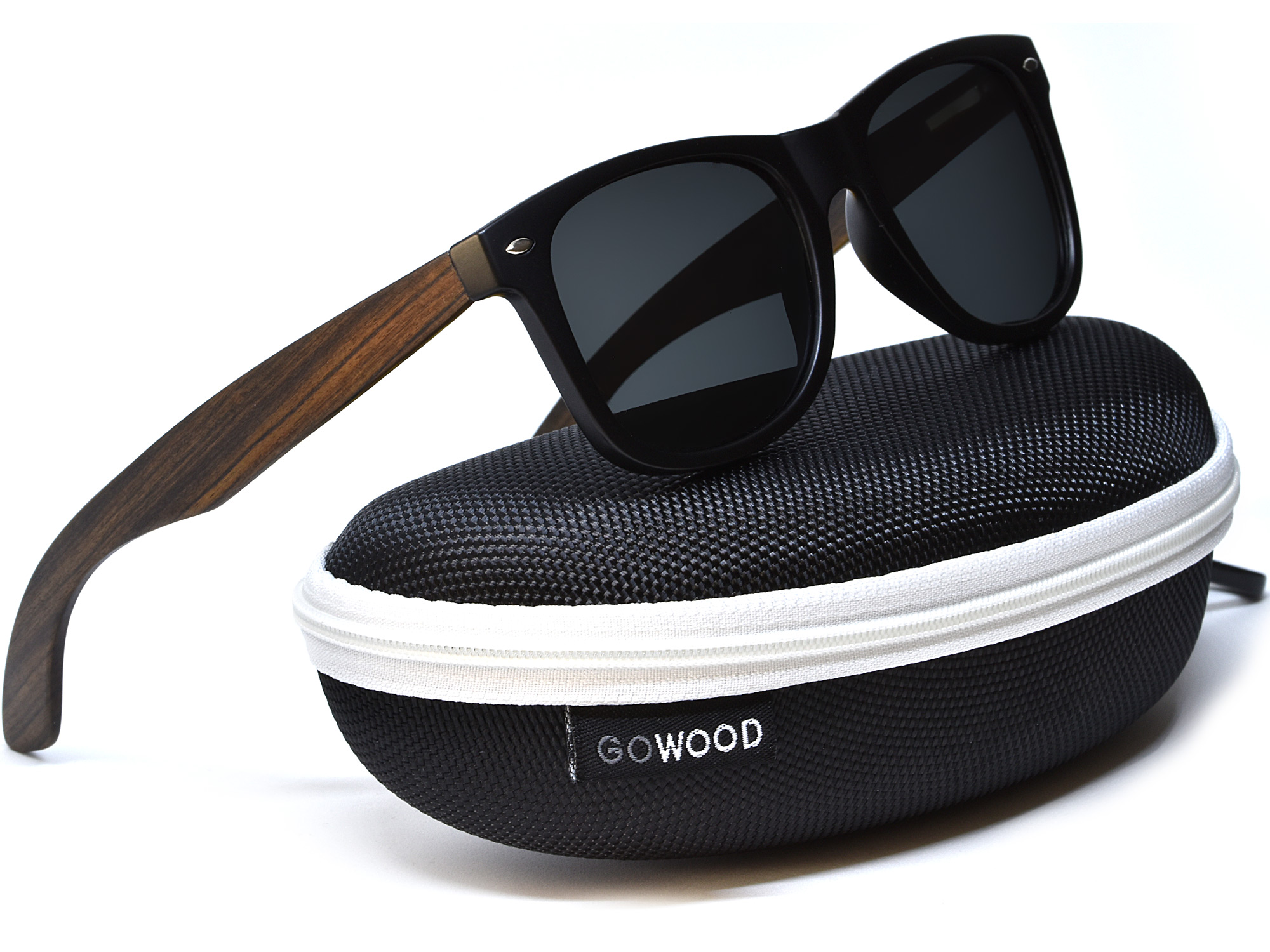 Ebony wood sunglasses with black polarized lenses in a zipper case