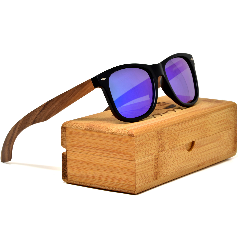 Walnut wood wayfarer sunglasses blue lenses