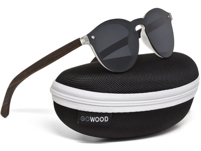 Round ebony wood sunglasses with dark grey polarized lens in a zipper case