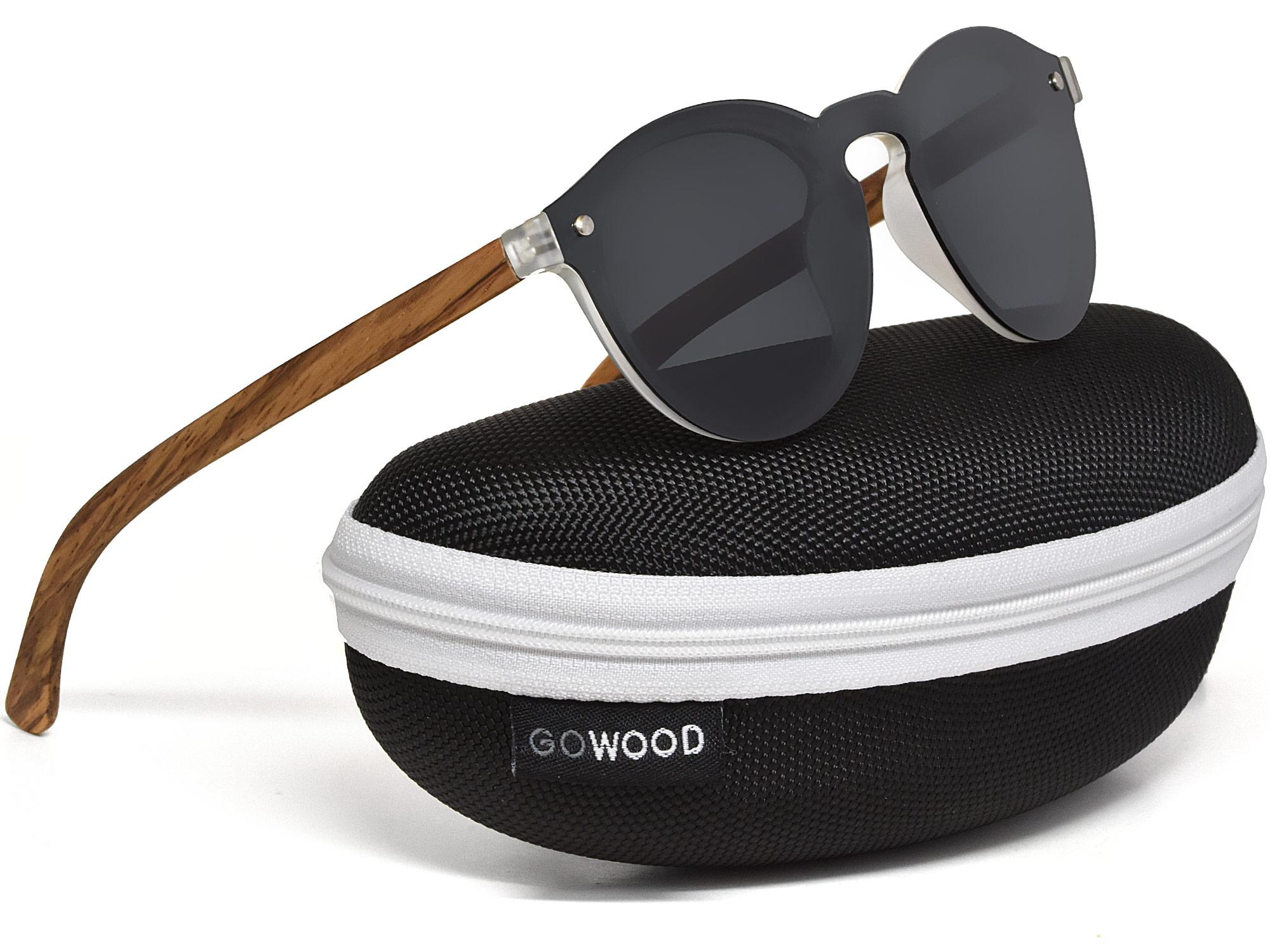 Round zebra wood sunglasses with dark grey polarized lens