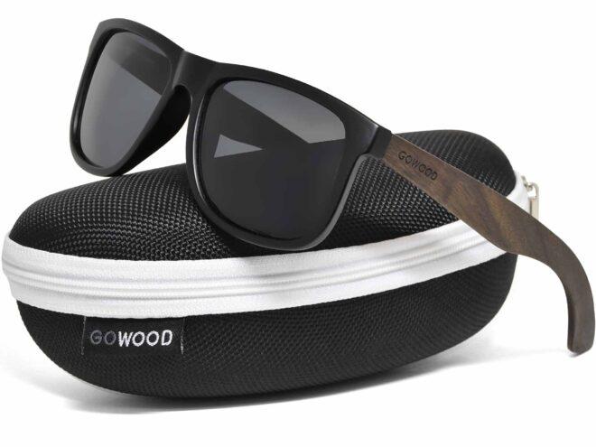 Square ebony wood sunglasses with black polarized lenses in zipper case