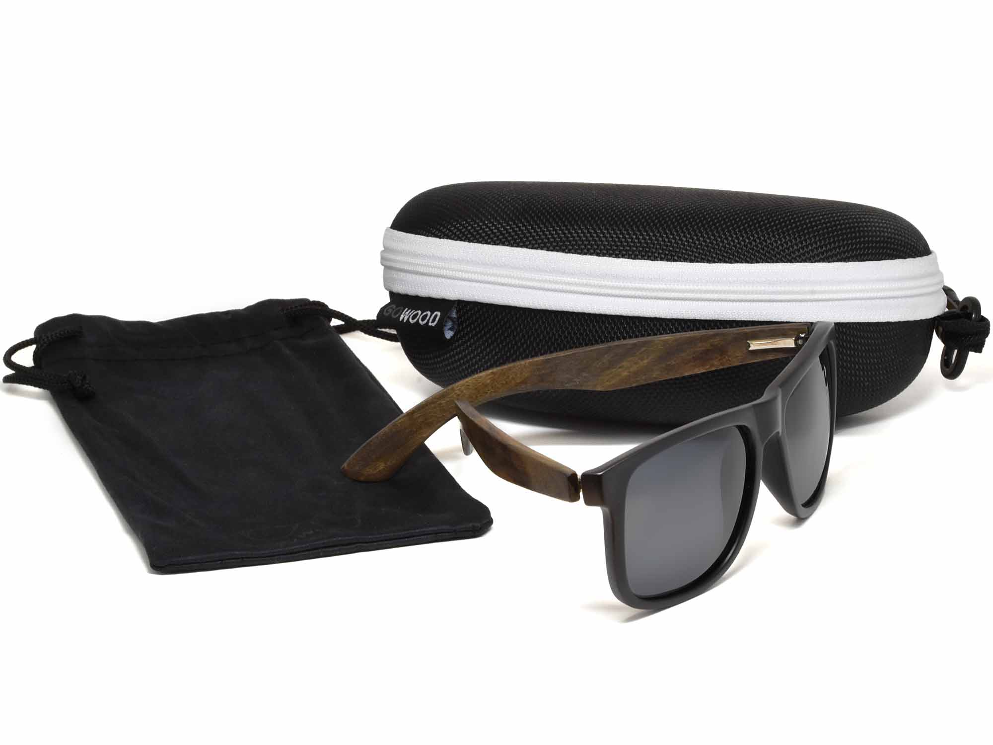 Square ebony wood sunglasses with black polarized lenses in zipper case set