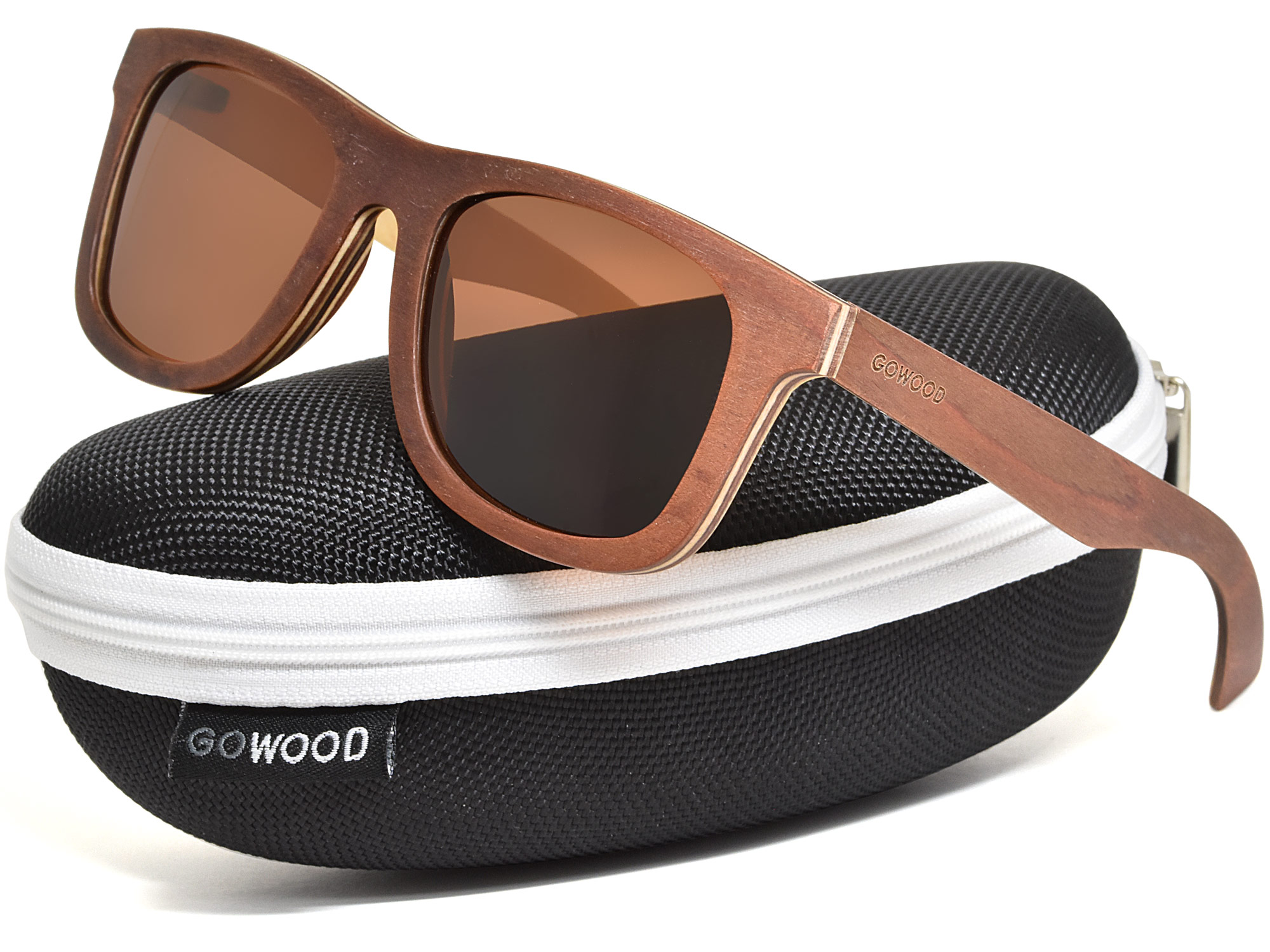 Brown maple wood sunglasses with brown lenses in a zipper case