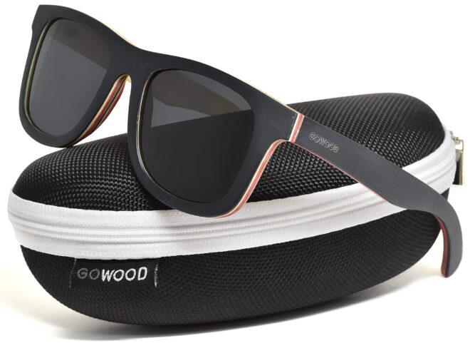 Black maple wood sunglasses in a zipper case