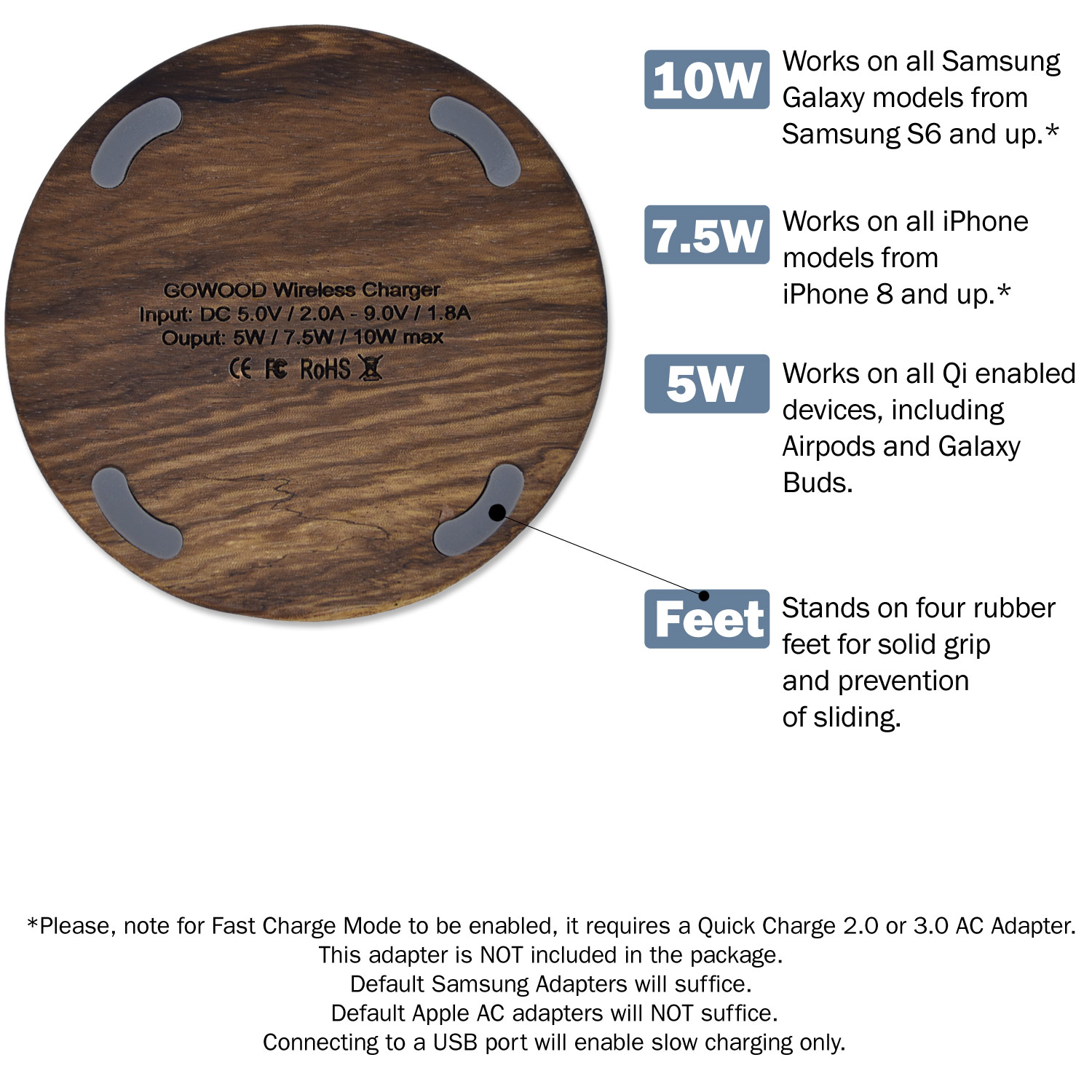 15W Fast charge zebra wood wireless charger positioning