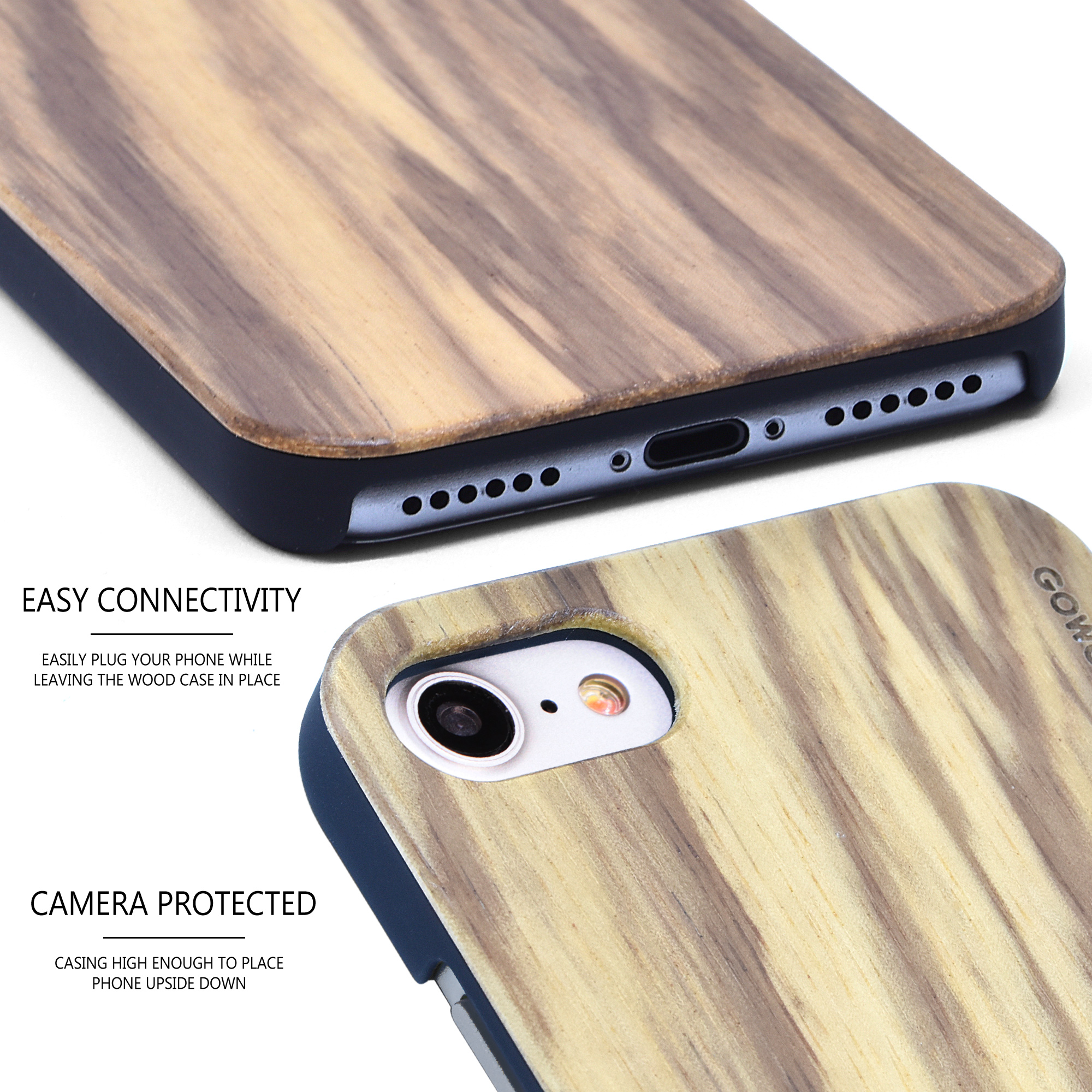 iPhone 7 8 and SE zebra wood case - camera view