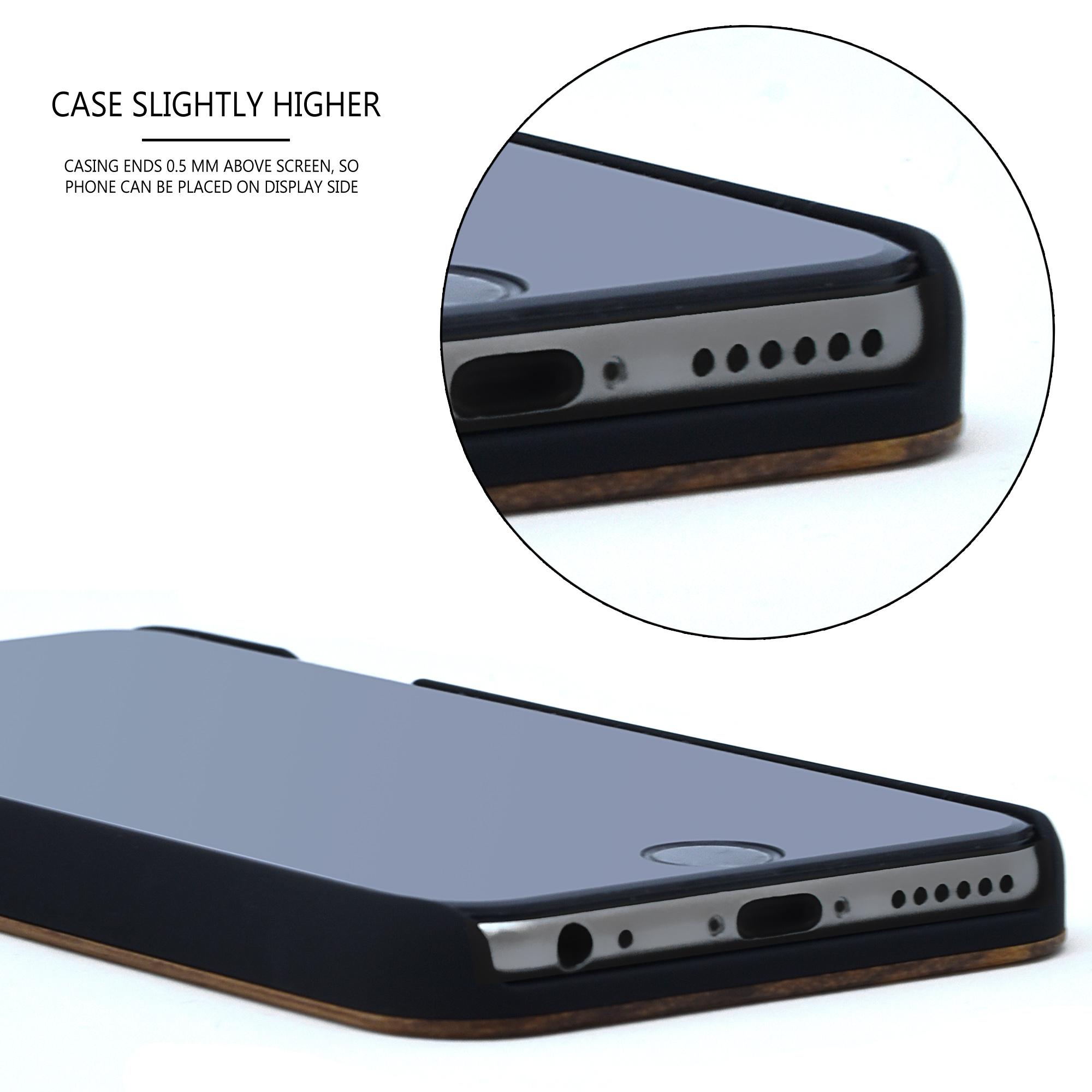 iPhone 7 8 and SE zebra wood case - speaker view