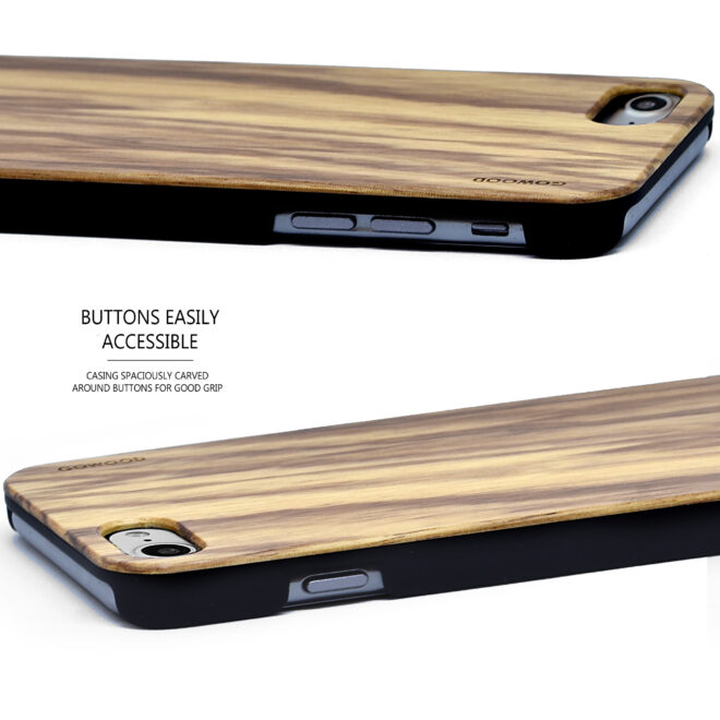 iPhone 7 8 and SE zebra wood case - buttons view
