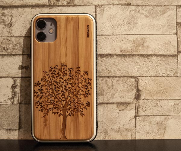 iPhone 11 bamboo wood case with tree print