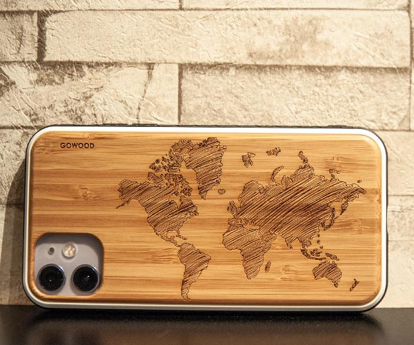 iPhone 11 bamboo wood case with world map print