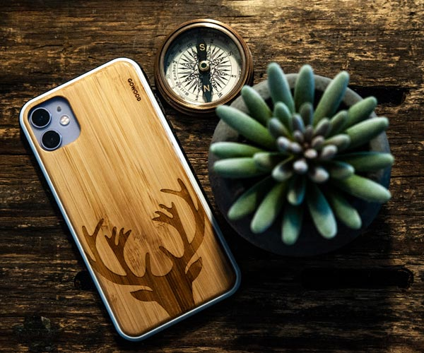 iPhone 11 bamboo wood case with deer print