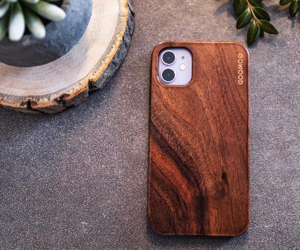 iPhone 11 walnut wood case