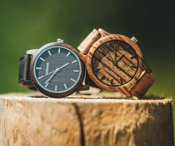 Zebra Wood and Black Sandal Wood Watch